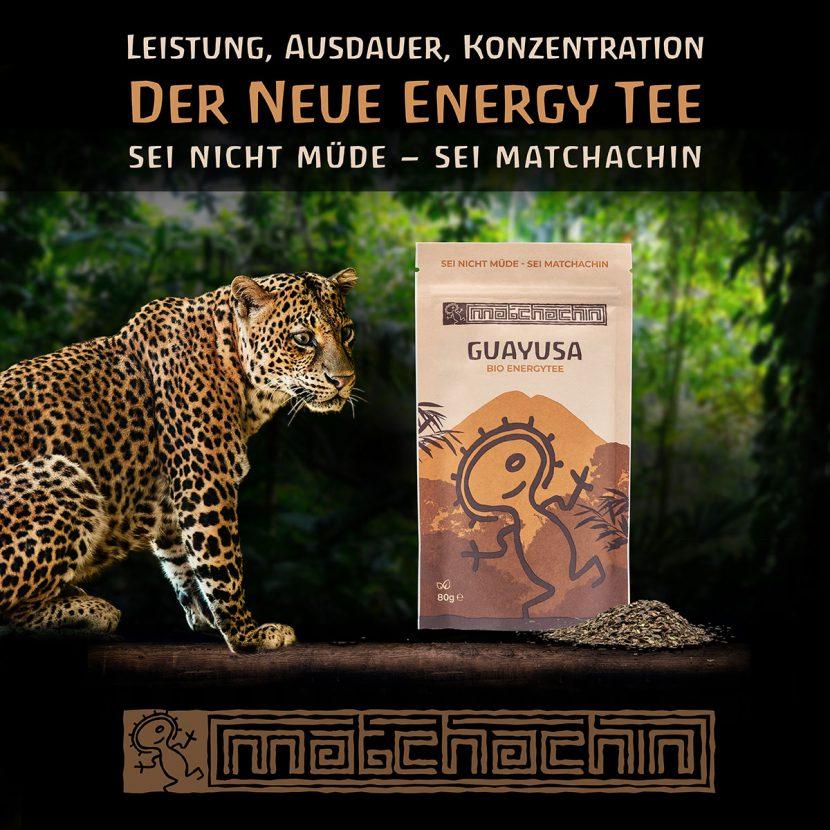 Werbemotiv Guayusa Tee von Matchachin, Leopard neben Guayusa Tee
