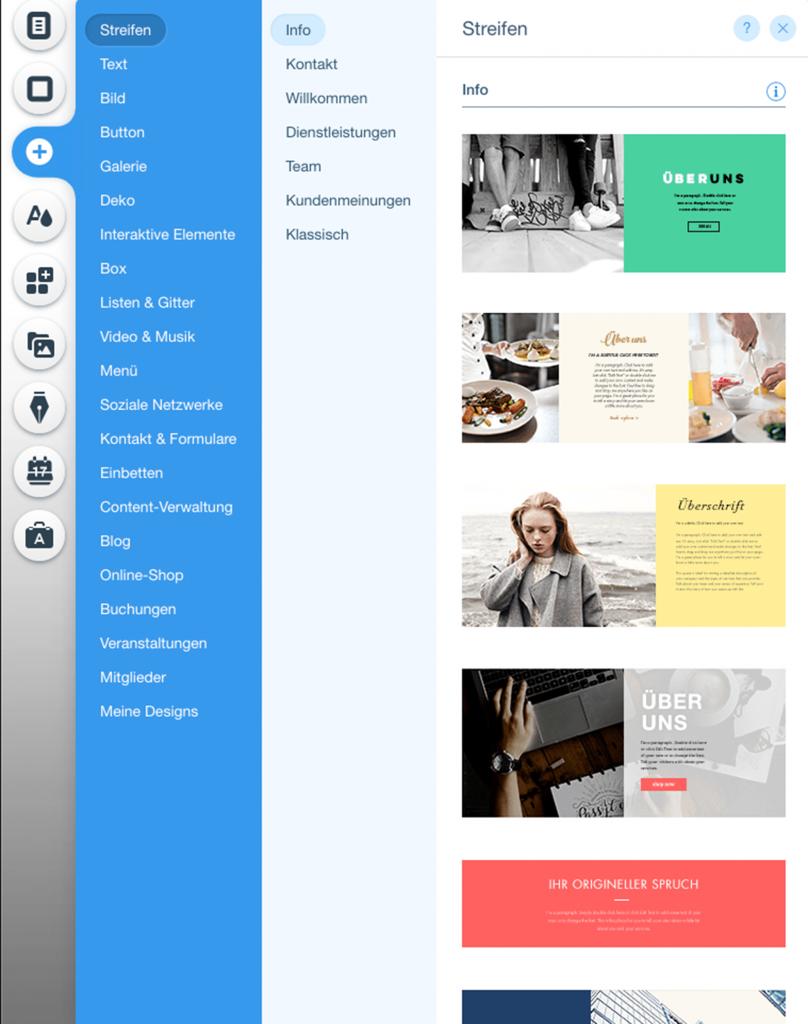 Screenshot Webbaukasten Wix