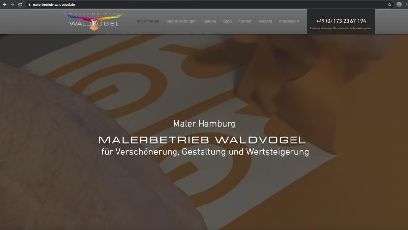 Screeschot Malerbetrieb Waldvogel