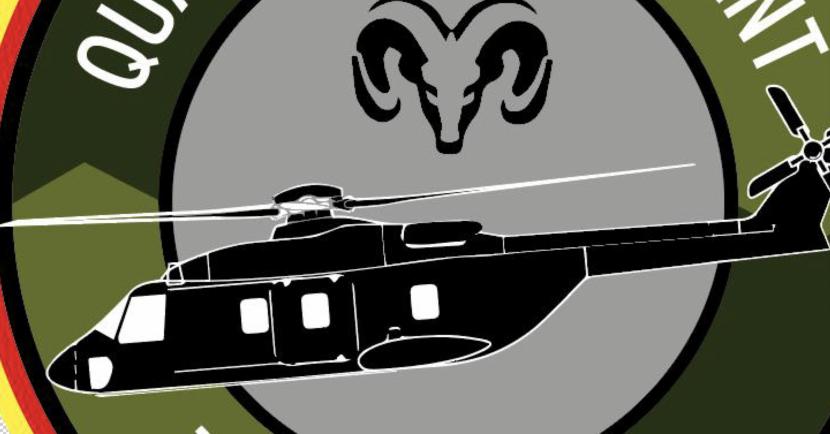 Bildlogo, der Bundeswehrhubschrauber HN95 von der Seite umrahmt von einem olivgrünem pdca kreis auf grauem hintergrund. mittig etwas oberhalb im zentrum ein schwarzer heidschnuckenkopf
