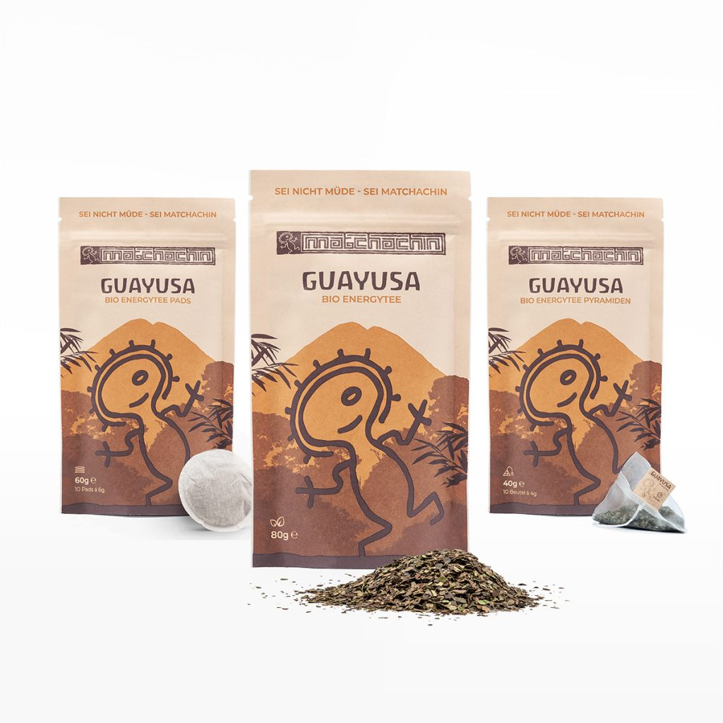 Guayusa Tee Packshot der drei Verpackungen, Vorderseite