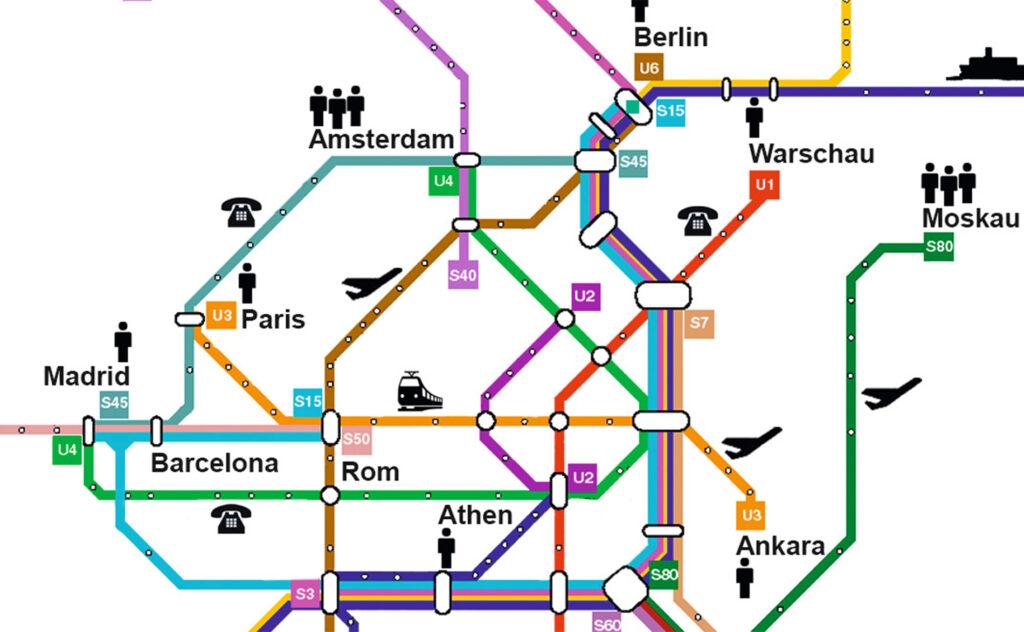 Verkehrsnetzplan Vernetzung von Metropolen Ausschnitt