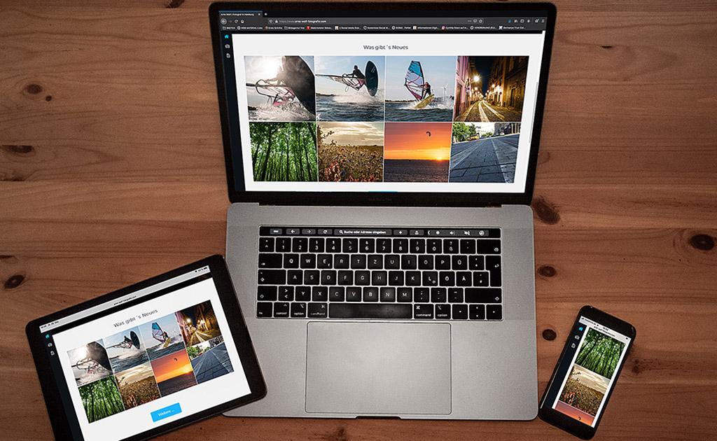 iPad, Macbook und iphone von oben fotografiert