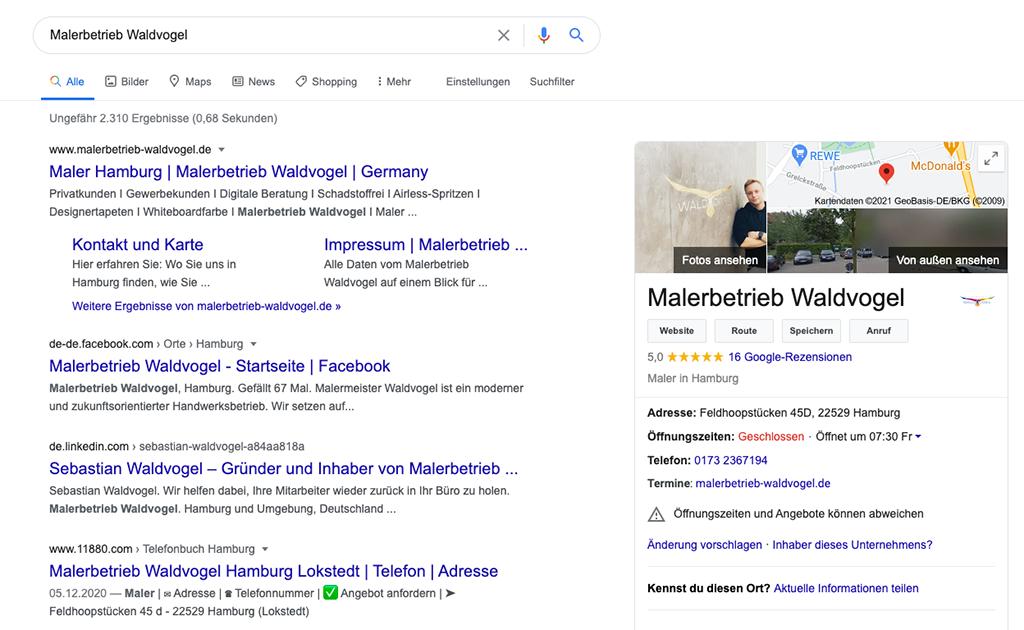 google oberfläche mit suchergebnissen
