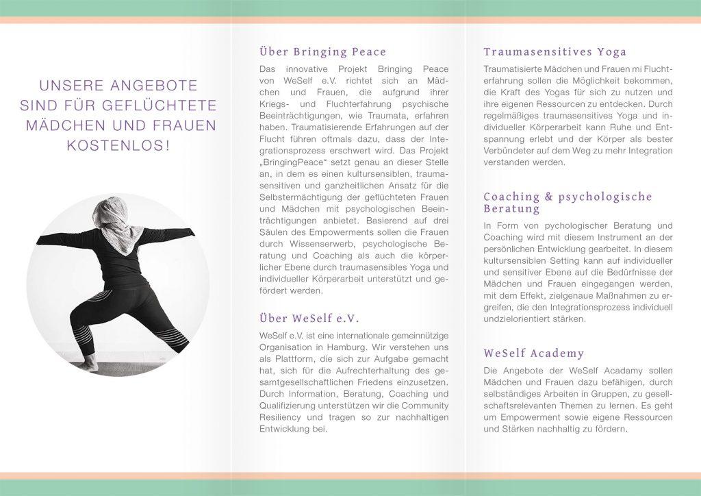 Flyer von WeSelf e.V. für das Projekt Bringing Peace, Innenseite