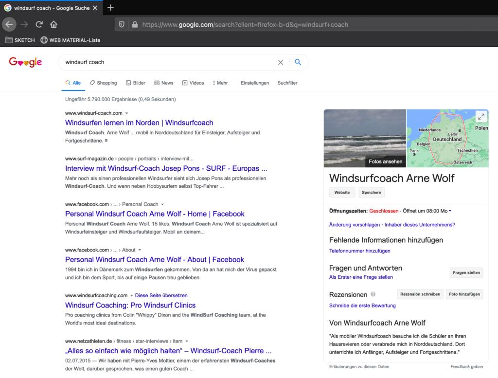Google Serp Anzeige Windsurf Coach